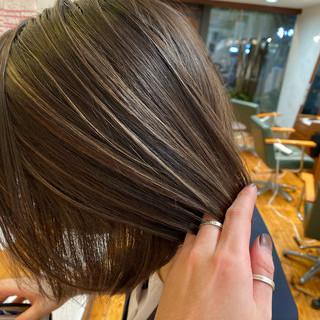 モード 3Dハイライト ボブ ハイライト ヘアスタイルや髪型の写真・画像