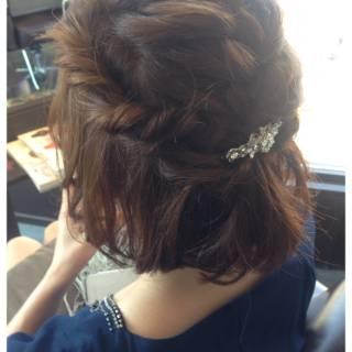 編み込み ヘアアレンジ ガーリー ボブ ヘアスタイルや髪型の写真・画像