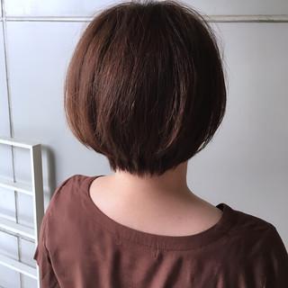 ナチュラル ピンクブラウン ショート ショートボブ ヘアスタイルや髪型の写真・画像