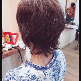 ガーリー マッシュウルフ ミディアム マッシュヘア ヘアスタイルや髪型の写真・画像