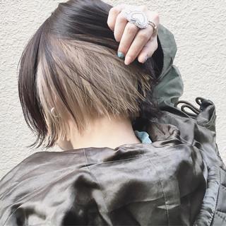 インナーカラー ストリート ボブ ワンレングス ヘアスタイルや髪型の写真・画像