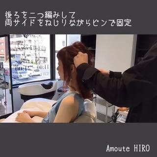 ヘアアレンジ フェミニン ルーズ ミディアム ヘアスタイルや髪型の写真・画像