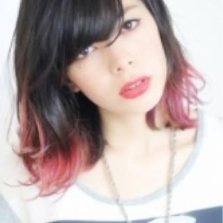 ウェットヘア ミディアム 黒髪 暗髪 ヘアスタイルや髪型の写真・画像
