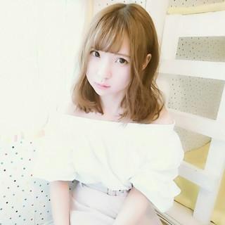 ウェーブ 簡単ヘアアレンジ ヘアアレンジ ミディアム ヘアスタイルや髪型の写真・画像
