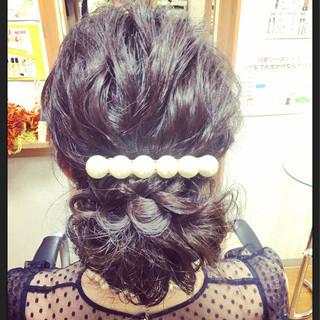 ロング ヘアアレンジ 二次会 フェミニン ヘアスタイルや髪型の写真・画像