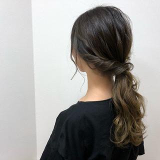 セミロング ヘアアレンジ イルミナカラー 結婚式 ヘアスタイルや髪型の写真・画像 ヘアスタイルや髪型の写真・画像
