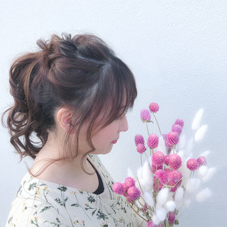 結婚式 セミロング ポニーテール デート ヘアスタイルや髪型の写真・画像