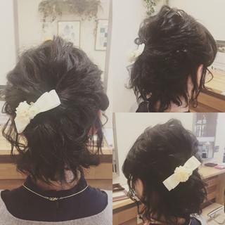 結婚式 ヘアアレンジ ハーフアップ ボブ ヘアスタイルや髪型の写真・画像