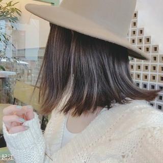 ミディアム デート 切りっぱなしボブ ゆるふわ ヘアスタイルや髪型の写真・画像