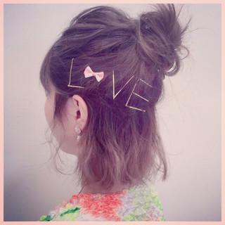 ヘアアレンジ ショート ヘアピン ボブ ヘアスタイルや髪型の写真・画像