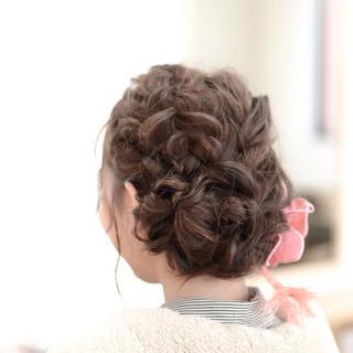 編み込み 成人式 パーティ ヘアアレンジ ヘアスタイルや髪型の写真・画像