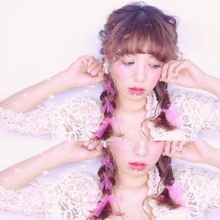 三つ編み ロング ガーリー ヘアアレンジ ヘアスタイルや髪型の写真・画像