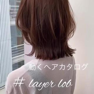 透明感カラー ナチュラル ミディアム ロブ ヘアスタイルや髪型の写真・画像