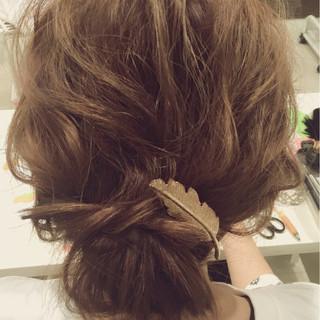 ヘアアレンジ ゆるふわ まとめ髪 ミディアム ヘアスタイルや髪型の写真・画像 ヘアスタイルや髪型の写真・画像