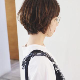 パーマ グラデーションカラー ナチュラル ショート ヘアスタイルや髪型の写真・画像
