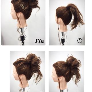 セミロング ハーフアップ 簡単ヘアアレンジ フェミニン ヘアスタイルや髪型の写真・画像