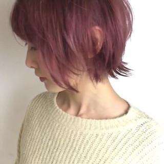ショート ピンクアッシュ ロブ 外国人風カラー ヘアスタイルや髪型の写真・画像