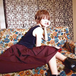 ショート アンニュイ ナチュラル ガーリー ヘアスタイルや髪型の写真・画像
