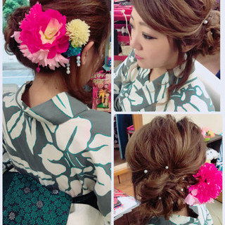 色気 セミロング フェミニン 和装 ヘアスタイルや髪型の写真・画像