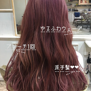 ピンクバイオレット 派手髪 フェミニン ラズベリーピンク ヘアスタイルや髪型の写真・画像