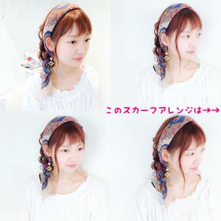 編み込み デート ヘアアレンジ ミディアム ヘアスタイルや髪型の写真・画像