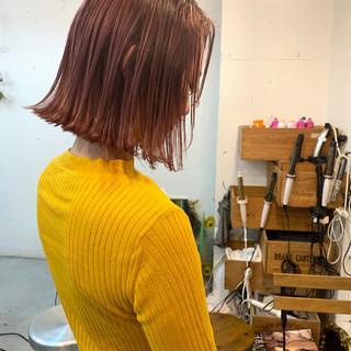 ストリート 切りっぱなしボブ ボブ ラベンダーピンク ヘアスタイルや髪型の写真・画像