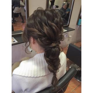 ロング ラフ 編み込み ヘアアレンジ ヘアスタイルや髪型の写真・画像