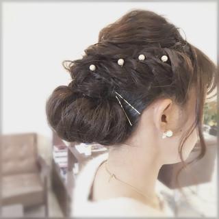ヘアアクセ 結婚式 ヘアピン ナチュラル ヘアスタイルや髪型の写真・画像