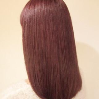 パープル セミロング ハイライト イルミナカラー ヘアスタイルや髪型の写真・画像