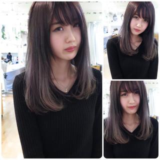 小顔 ダブルカラー 外国人風カラー パープル ヘアスタイルや髪型の写真・画像