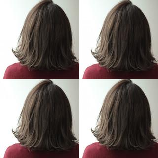 ハイライト ボブ ナチュラル アッシュ ヘアスタイルや髪型の写真・画像