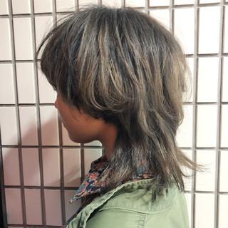 ブリーチ マッシュウルフ モード パーマ ヘアスタイルや髪型の写真・画像