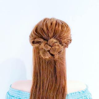 簡単ヘアアレンジ ロング ロープ編み 三つ編み ヘアスタイルや髪型の写真・画像