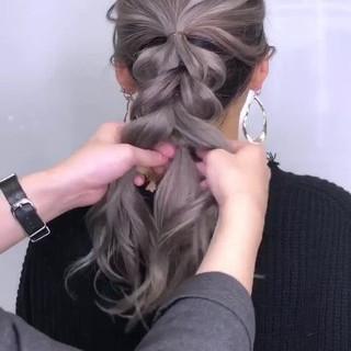 ロング ヘアアレンジ ガーリー 簡単ヘアアレンジ ヘアスタイルや髪型の写真・画像