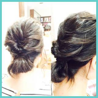 ヘアアレンジ くるりんぱ 波ウェーブ ショート ヘアスタイルや髪型の写真・画像