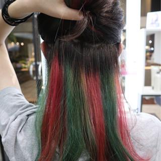 モード セミロング インナーカラー 個性的 ヘアスタイルや髪型の写真・画像 ヘアスタイルや髪型の写真・画像