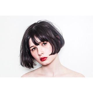 切りっぱなし ワンレングス ショートボブ モード ヘアスタイルや髪型の写真・画像