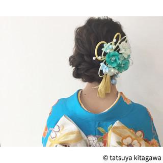 花嫁 ヘアアレンジ 外国人風 セミロング ヘアスタイルや髪型の写真・画像