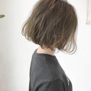 ボブ ベージュ ナチュラル 外国人風 ヘアスタイルや髪型の写真・画像