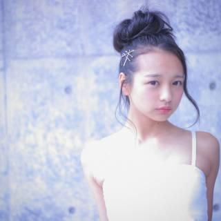 ヘアアクセ ヘアアレンジ セミロング ヘアピン ヘアスタイルや髪型の写真・画像