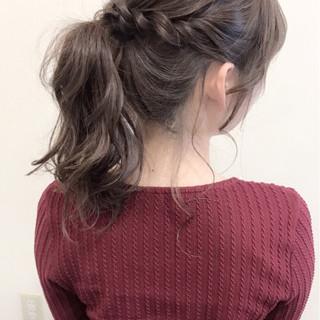 ポニーテール デート ヘアアレンジ セミロング ヘアスタイルや髪型の写真・画像