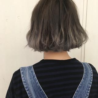 アッシュグラデーション ボブ 外国人風カラー シルバー ヘアスタイルや髪型の写真・画像