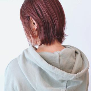 ストリート ピンク ベリーピンク ボブ ヘアスタイルや髪型の写真・画像