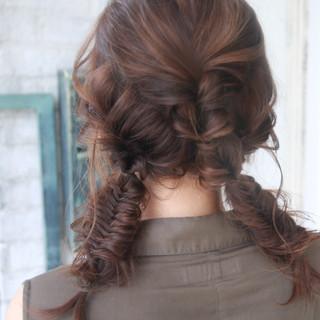 ヘアアレンジ ストリート 編み込み セミロング ヘアスタイルや髪型の写真・画像 ヘアスタイルや髪型の写真・画像