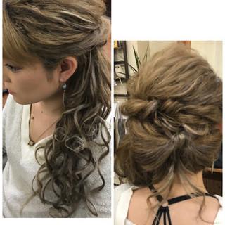 ロング ガーリー ヘアアレンジ サイドアップ ヘアスタイルや髪型の写真・画像