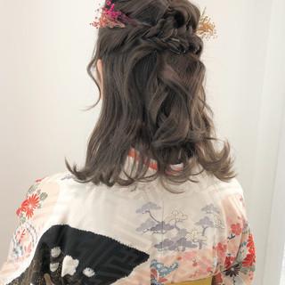 ヘアセット セミロング フェミニン 簡単ヘアアレンジ ヘアスタイルや髪型の写真・画像
