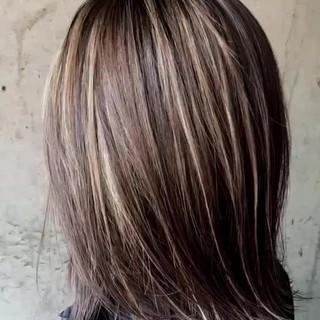 3Dハイライト ミディアム ハイライト ナチュラル ヘアスタイルや髪型の写真・画像