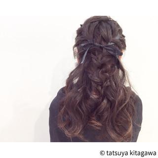 ゆるふわ フェミニン ハーフアップ アップスタイル ヘアスタイルや髪型の写真・画像