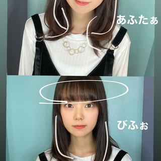 簡単ヘアアレンジ 切りっぱなしボブ インナーカラー 前髪アレンジ ヘアスタイルや髪型の写真・画像