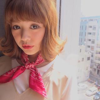 ミディアム ヘアアレンジ ブラウン レイヤーカット ヘアスタイルや髪型の写真・画像